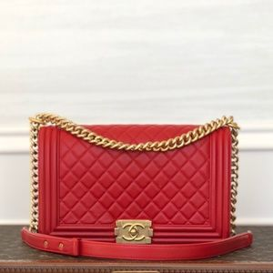 Chanel Lipstick Red Lambskin New Medium Boy Bag